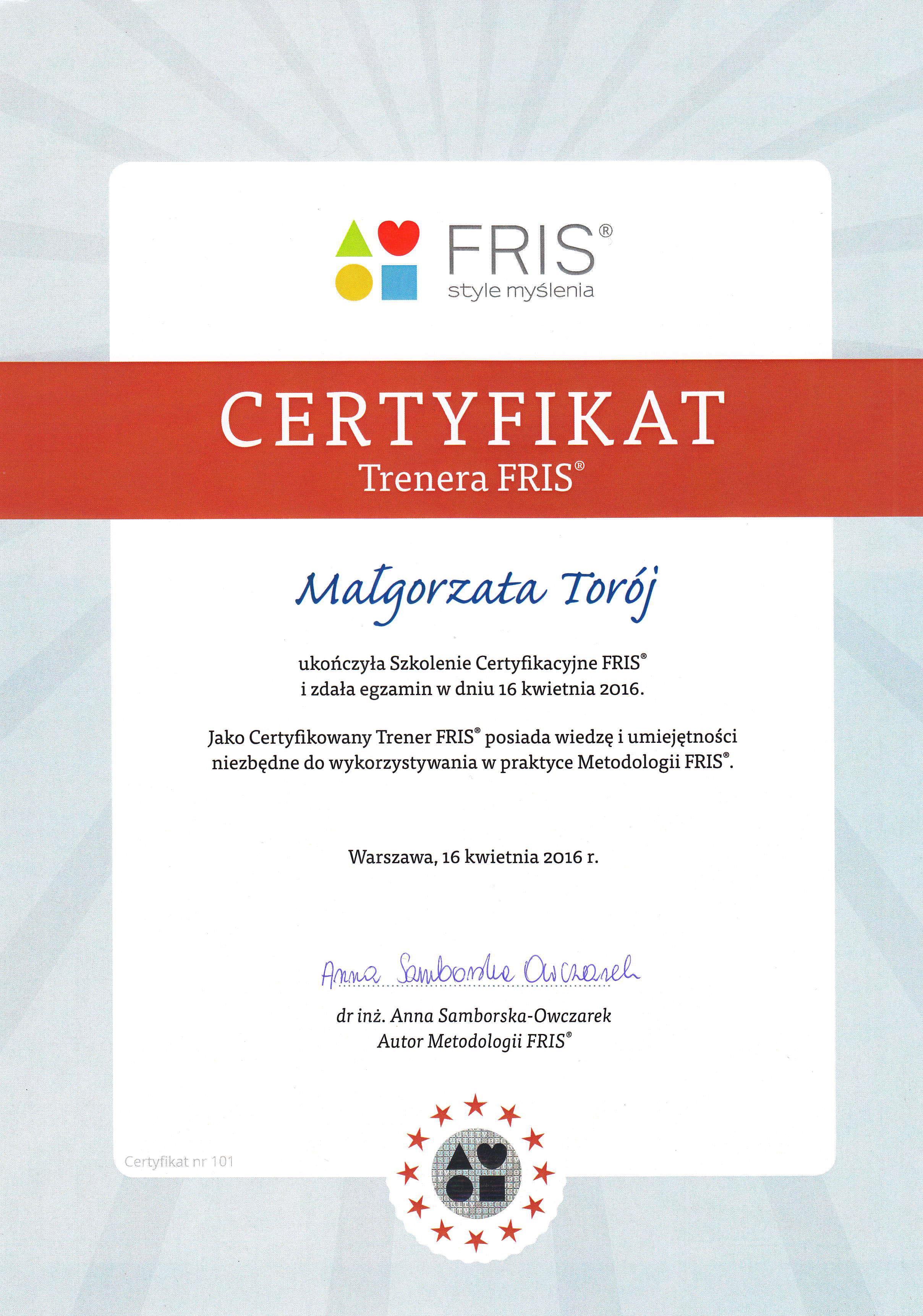 Certyfikat-FRIS